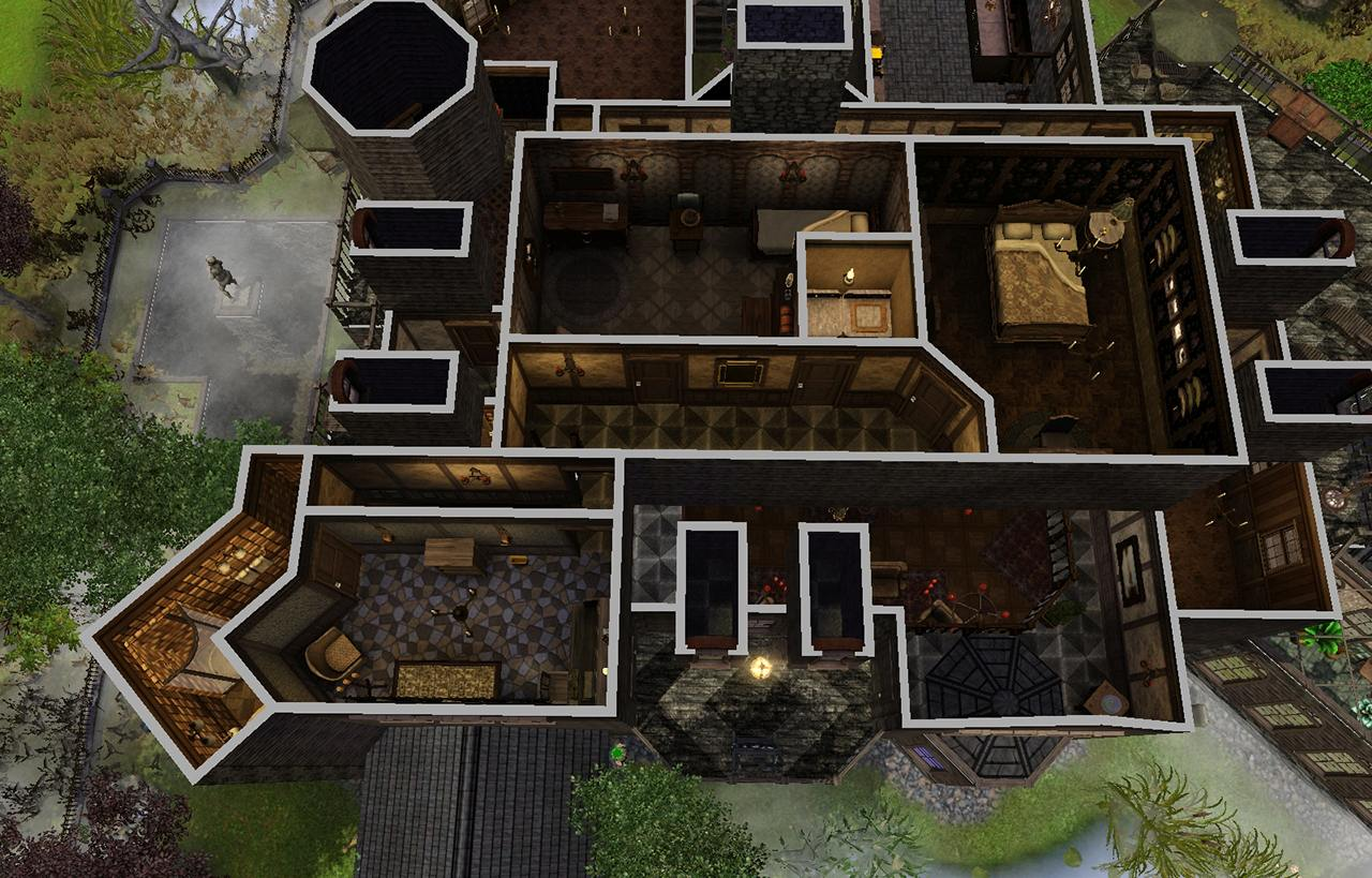Mod the sims the spooky mansion for Addams family house floor plan