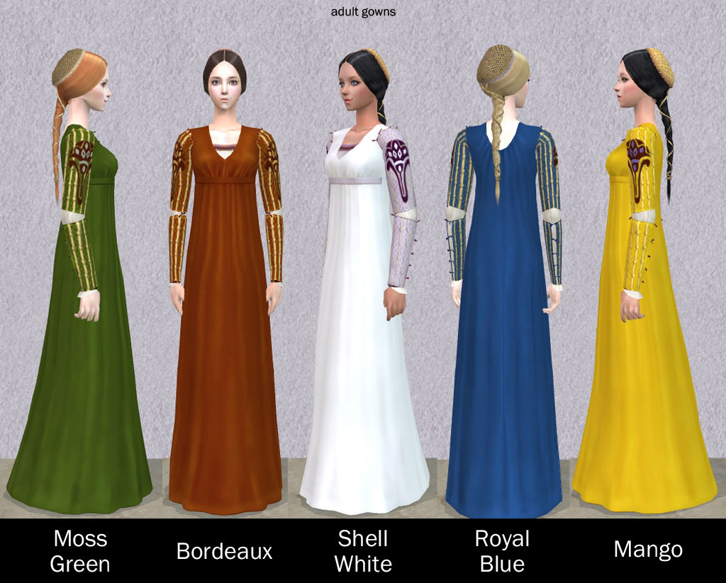 Mod The Sims - Italian Renaissance Hair and Gown for female **UPDATED