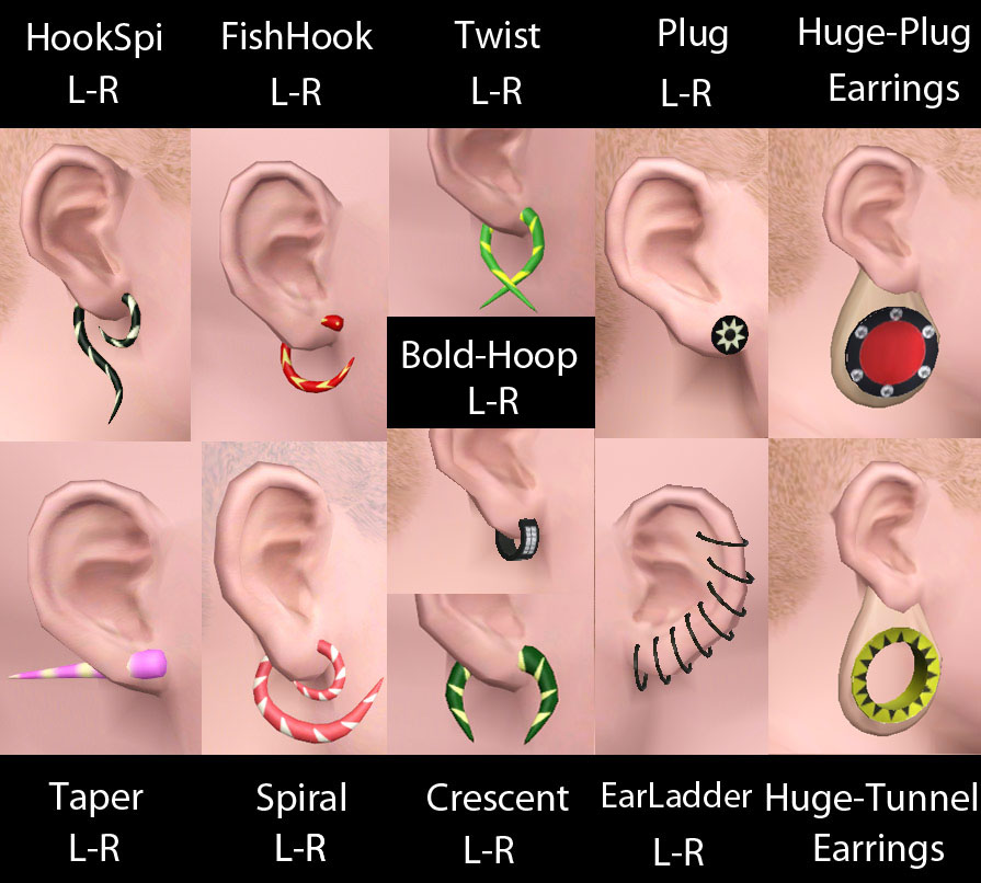 Piercings. 11 items set. Semi layerable by necrodog