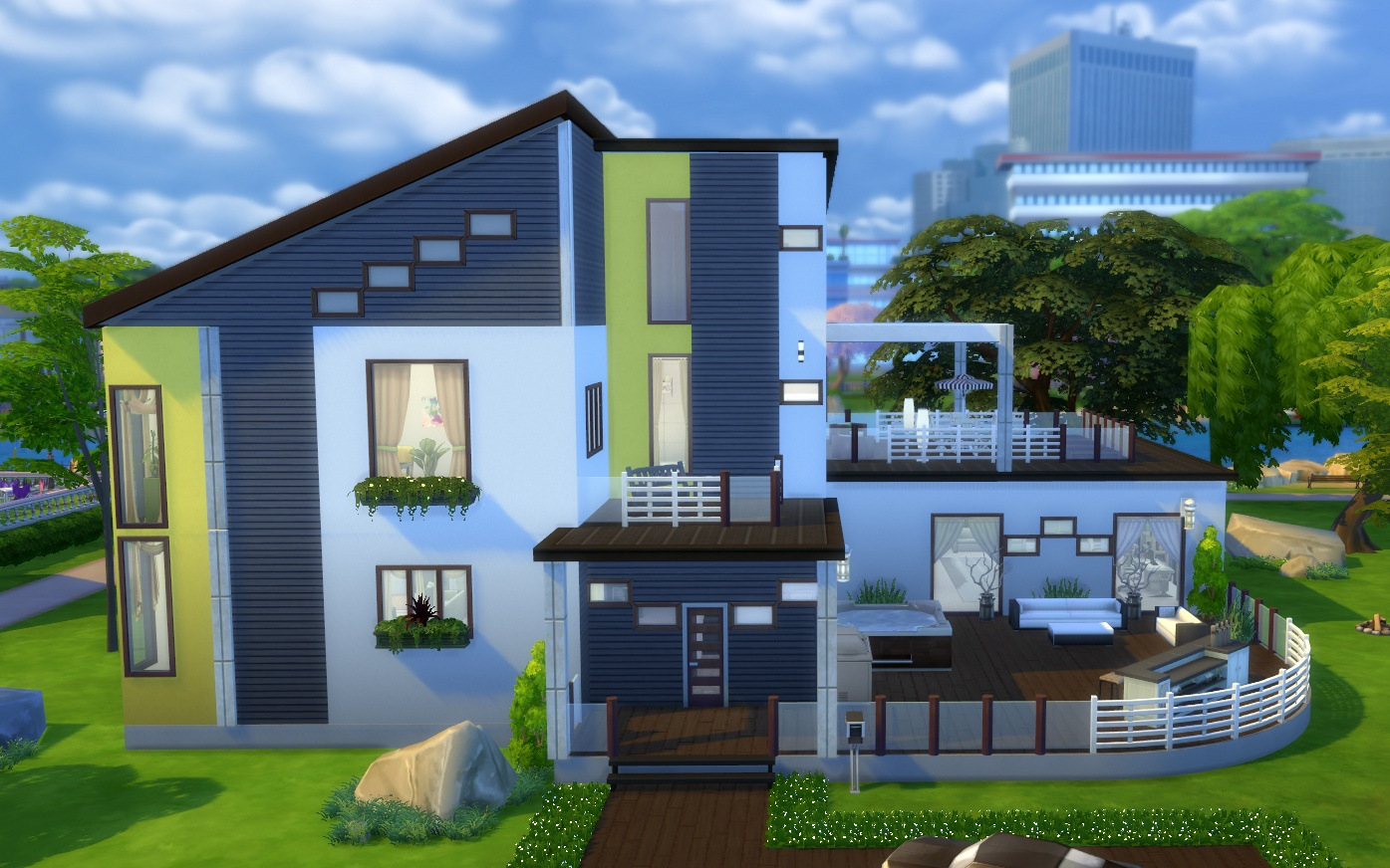 Mod the sims yellow rose nocc modern mansion for Modern yellow houses