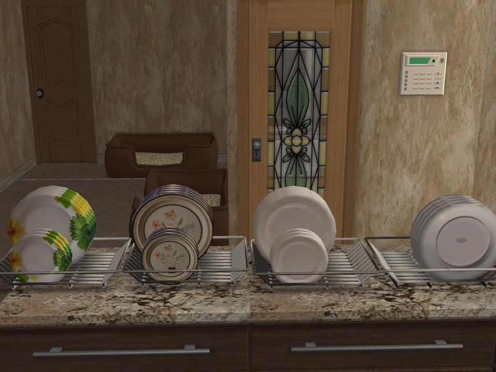 Mod The Sims Recolors Of Boblishman S Dishrack And Dishes