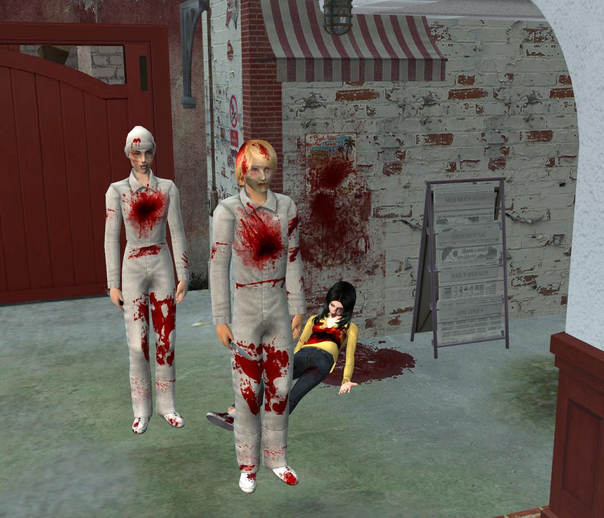 Mod The Sims - Bloody recolor of maxis orderly outfit