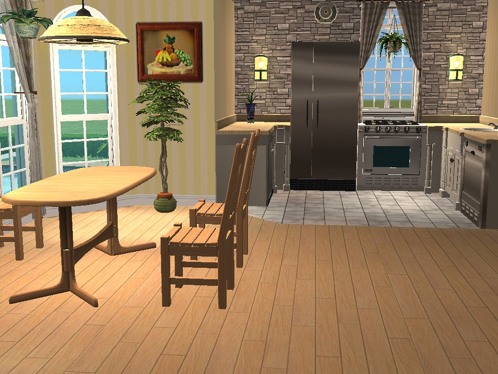 Mod the sims 2 cherry lane three bedrooms and two for Sims 3 kitchen designs
