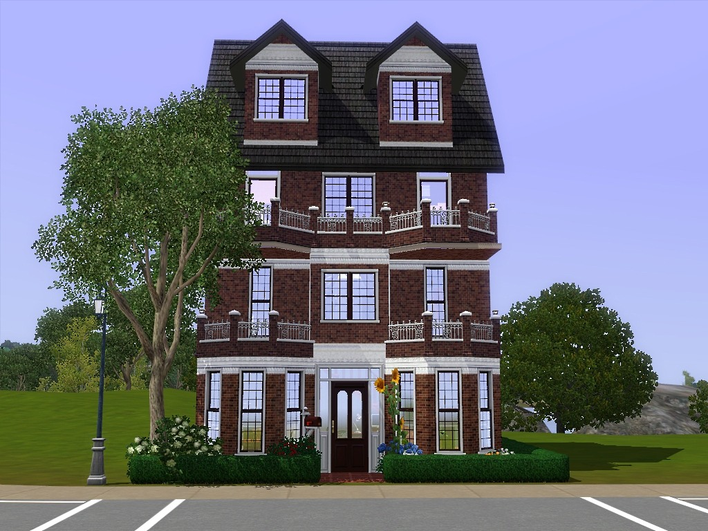 Mod the sims comfy townhouse a three story house with for 4 story house