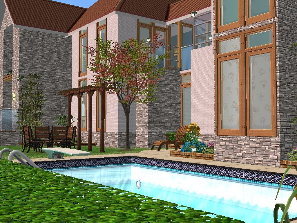 Mod the sims 2 honey lane a two story house with 3 for 2 story house with pool