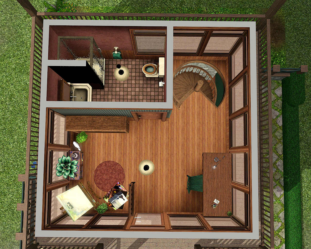 Mod The Sims Sunflower Cabin A Cute One Bedroom And 1