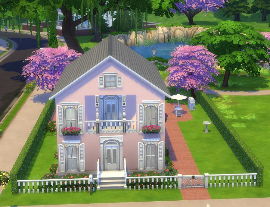 This Small Home Is Ideal For One Or Two Sim Families Inspired By Barbie And Her Dream House I May Have Gone A Little Bit Nuts With The Garden
