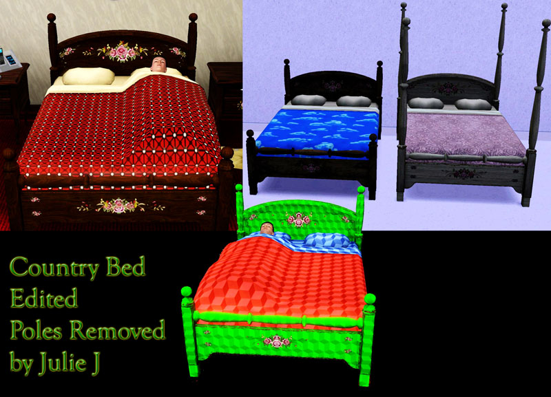 mod the sims country beds edited poles stencils removed updated for 1 26 pets mod