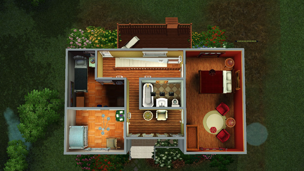 Mod the sims classic family home no cc 3bed 2bath for 4 bedroom tiny house