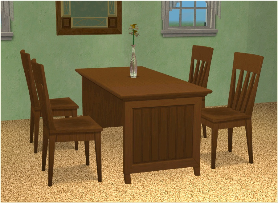 Mod the sims basic dining table by leefish in 12 icad colors for Basic dining table