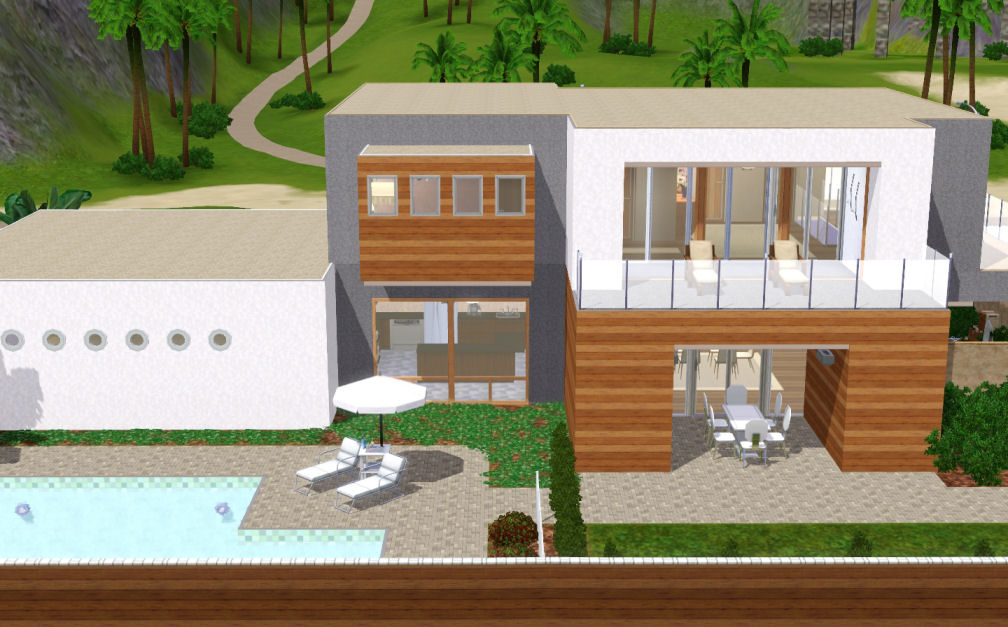 Mod the sims jeanne une maison moderne for Salon moderne sims 4