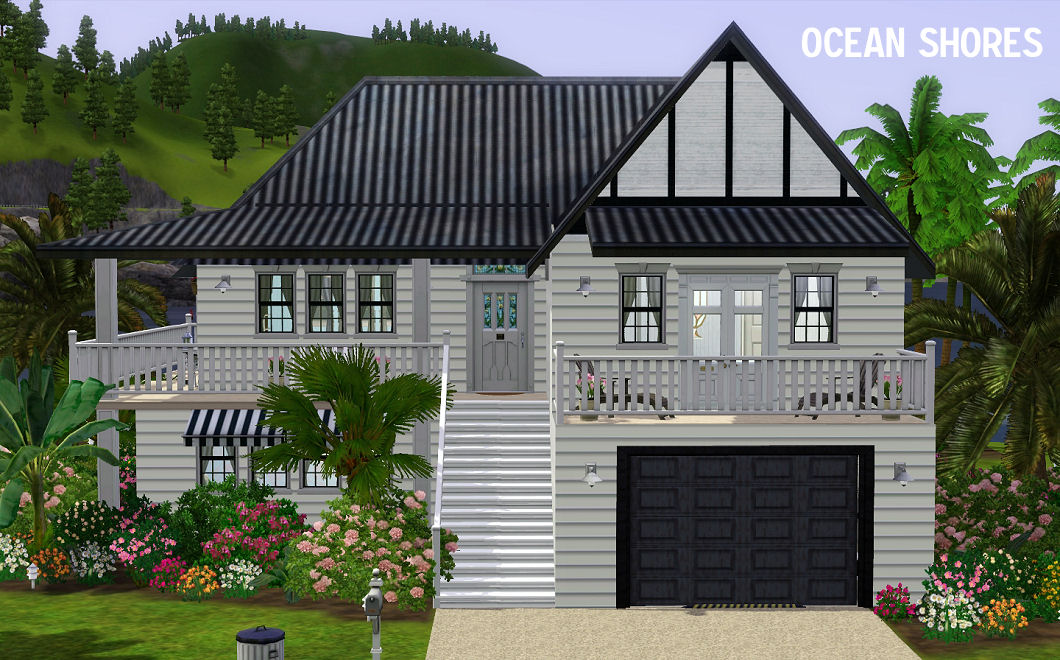 Mod the sims ocean shores a contemporary family beach for Beach house plans sims 3