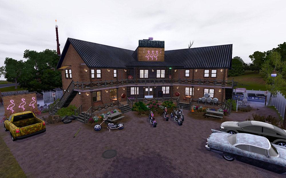 mod the sims   the three flamingos inn diner   bar   motel