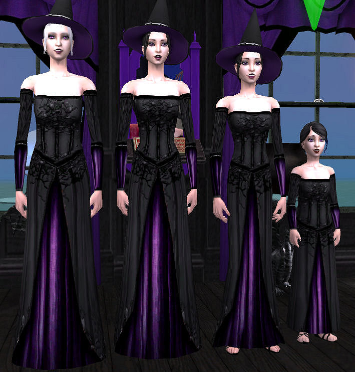 Mod The Sims - Evil Witch Gown Set - A Better Option for your Witch ...