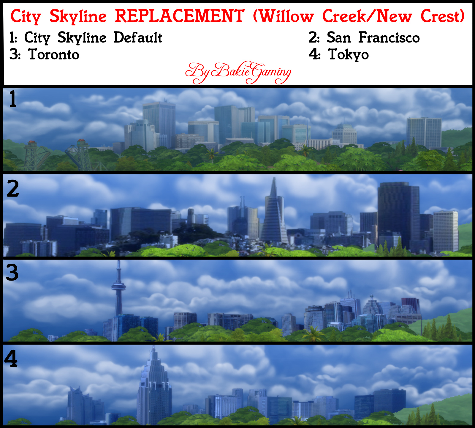 mod the sims city skyline replacements pack 3. Black Bedroom Furniture Sets. Home Design Ideas