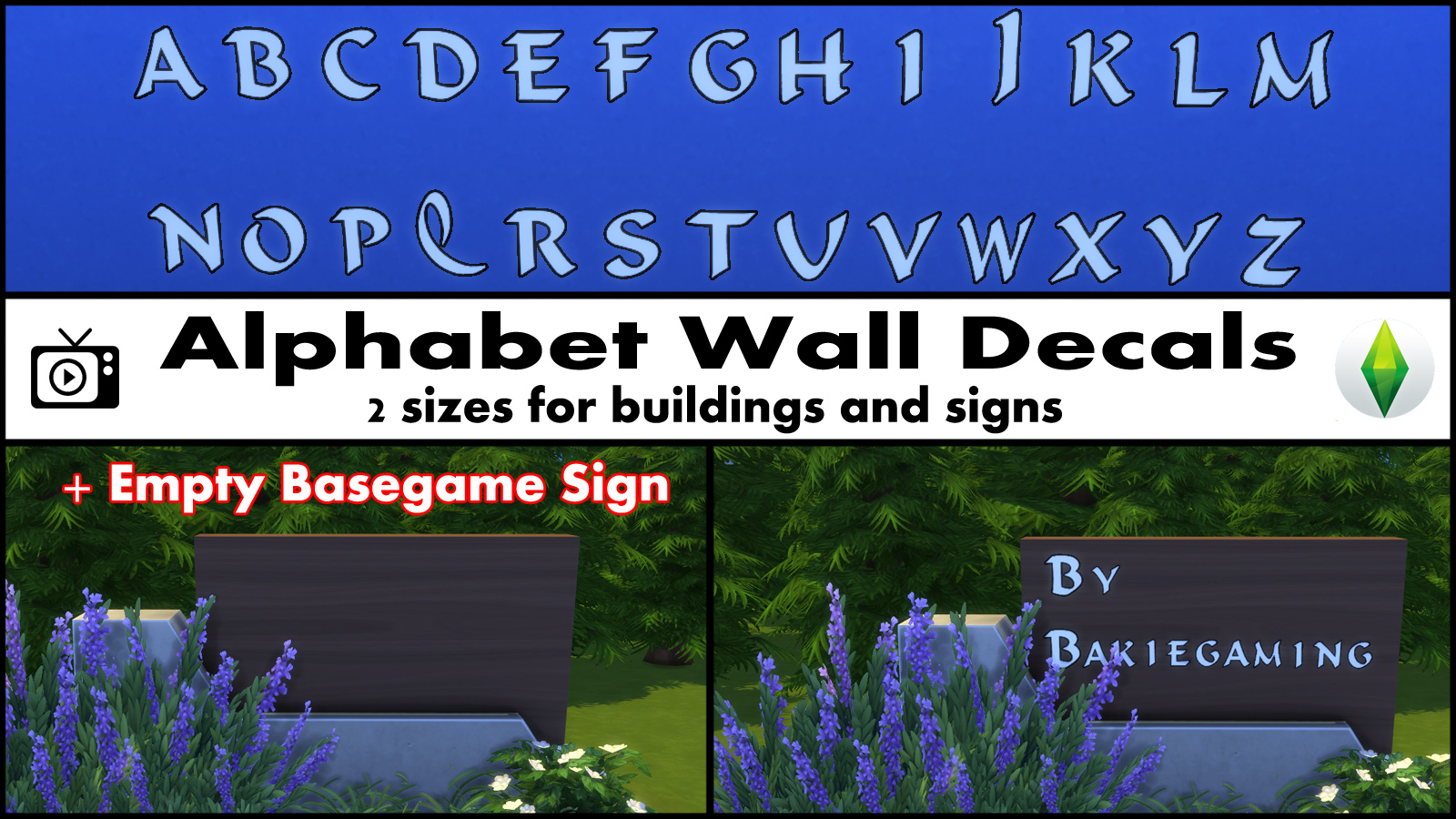 Mod the sims alphabet wall decals empty basegame sign for Alphabet wall mural