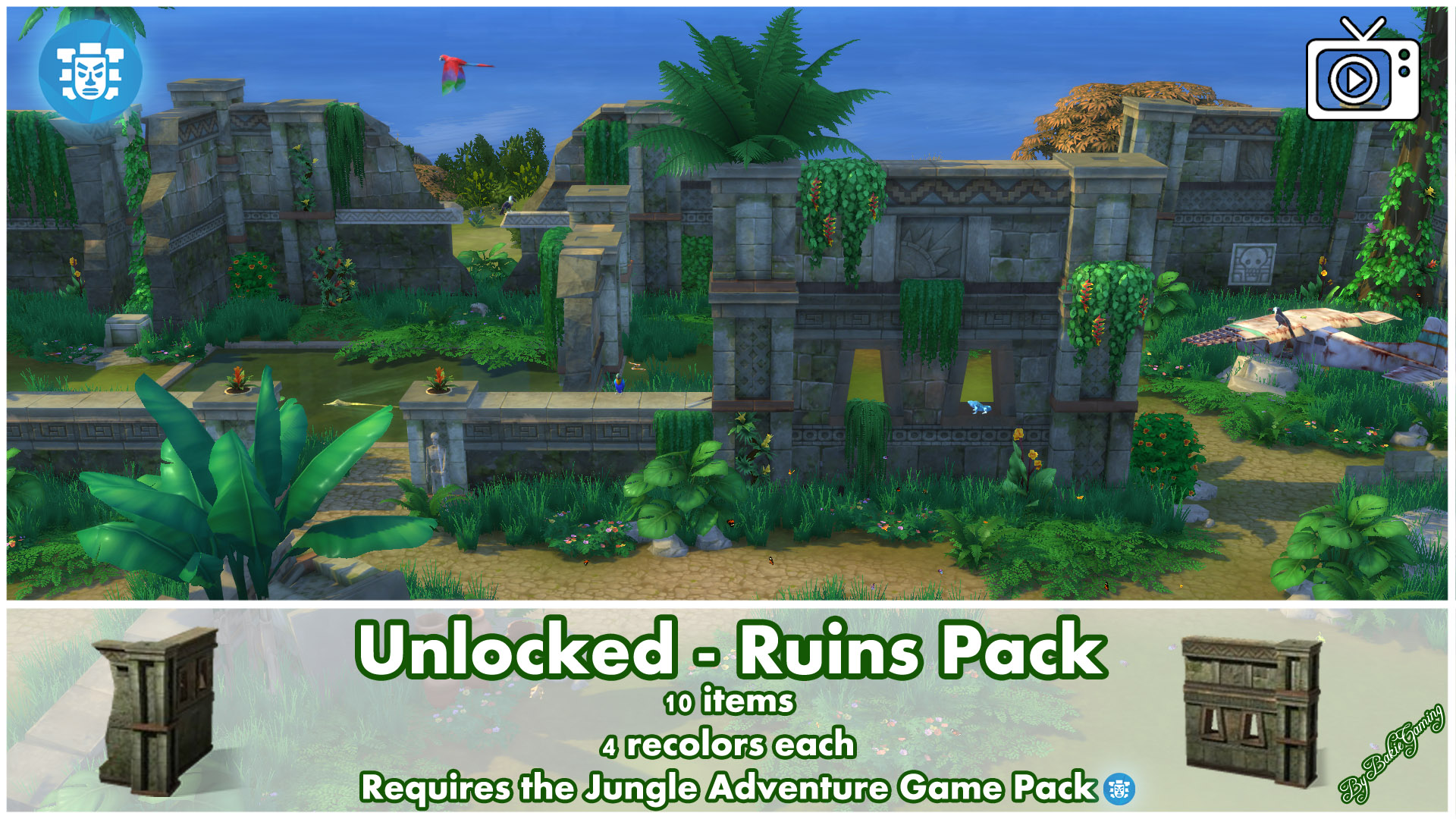 mod the sims unlocked ruins pack jungle adventure. Black Bedroom Furniture Sets. Home Design Ideas