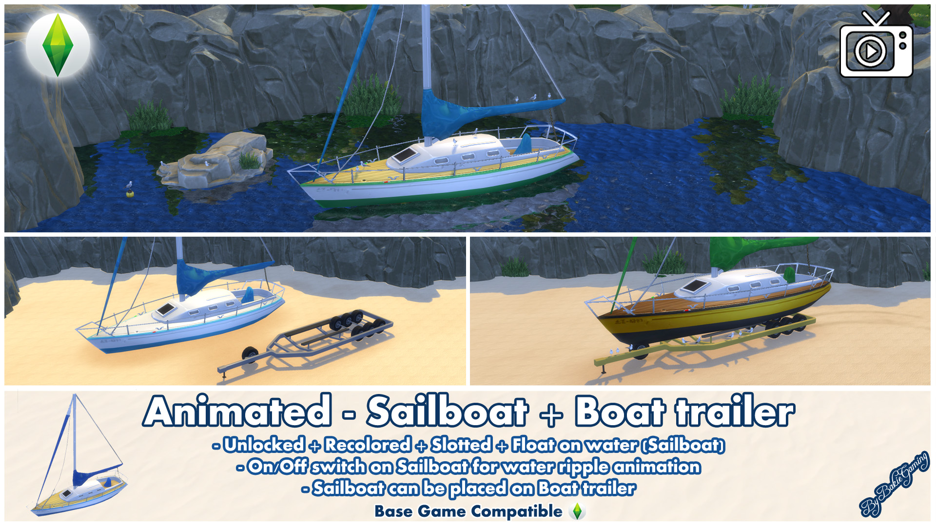 Mod The Sims - Animated - Sailboat + Water Ripple Effect
