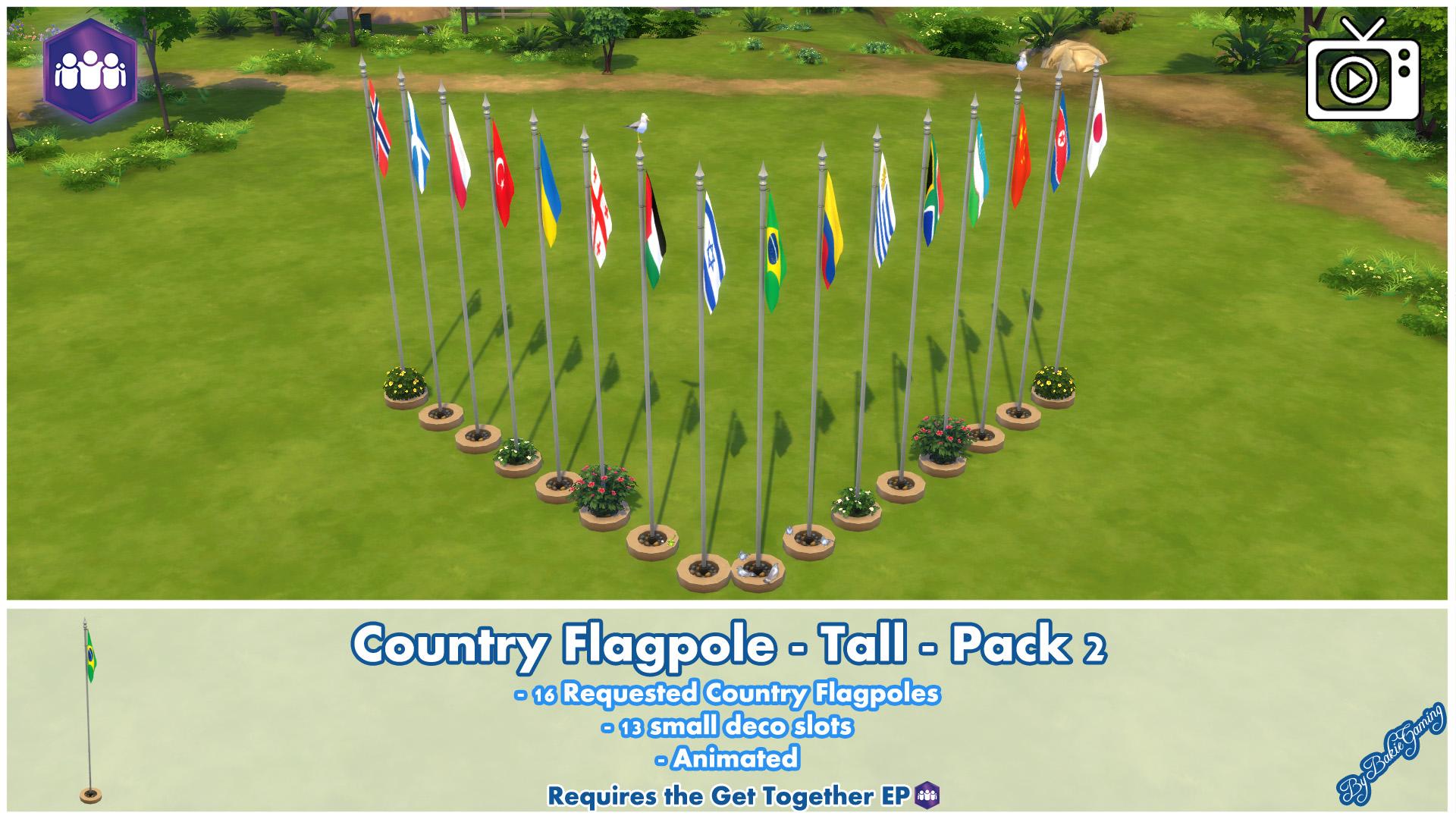 Мод Анимированные флагштоки страны
