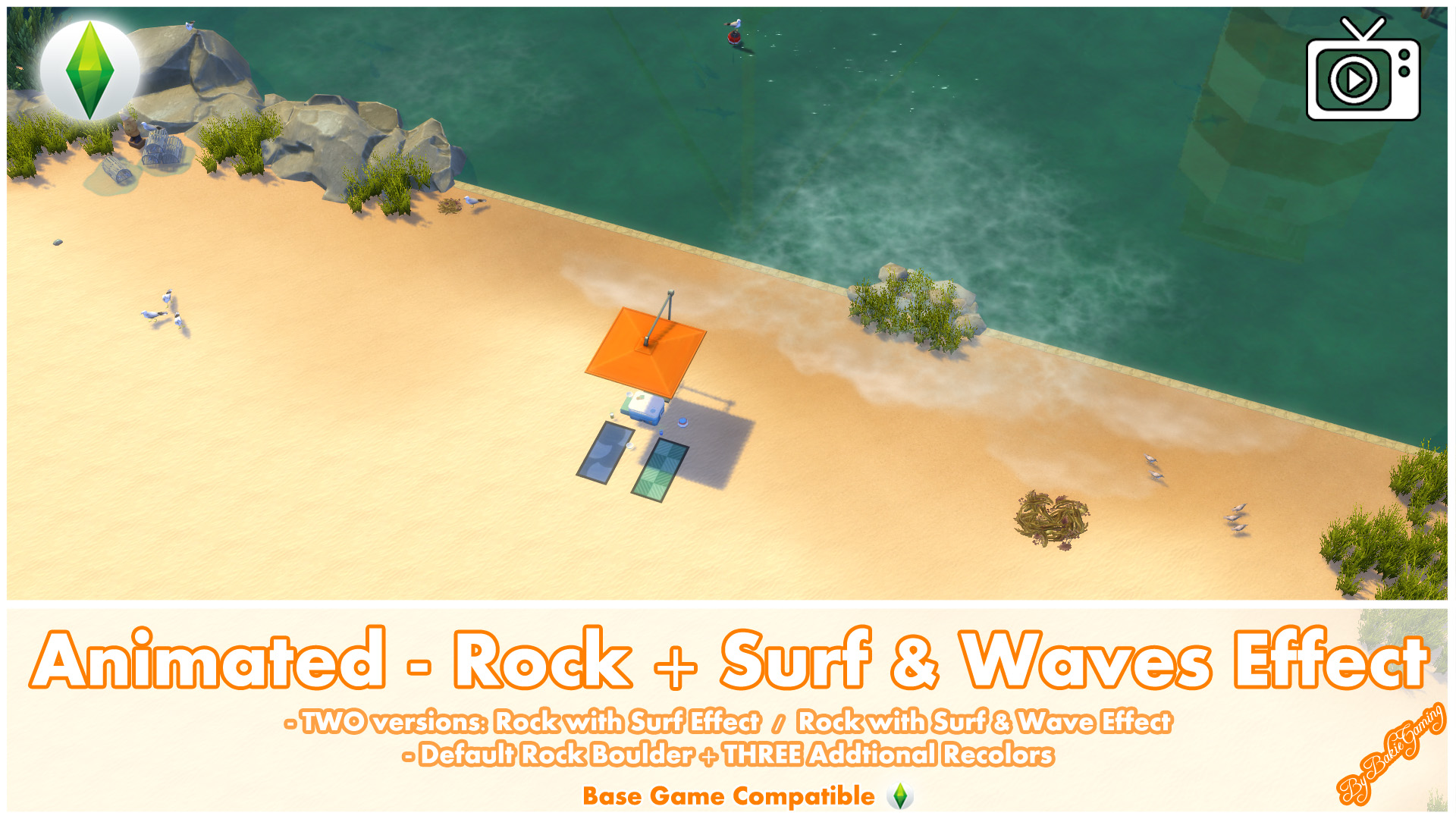 Mod The Sims - Animated - Rock + Surf & Waves Effect