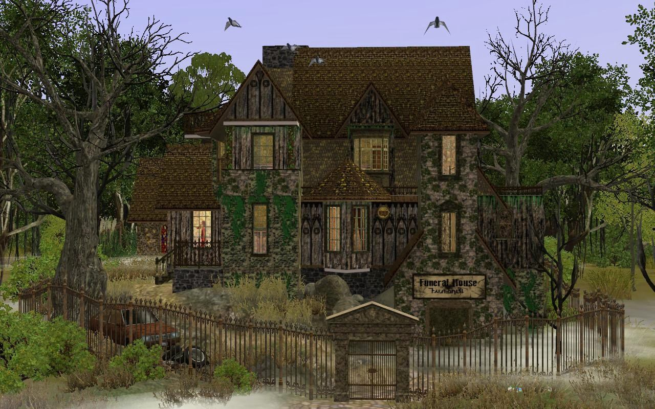 Mod the sims halloween funeral house for Real house