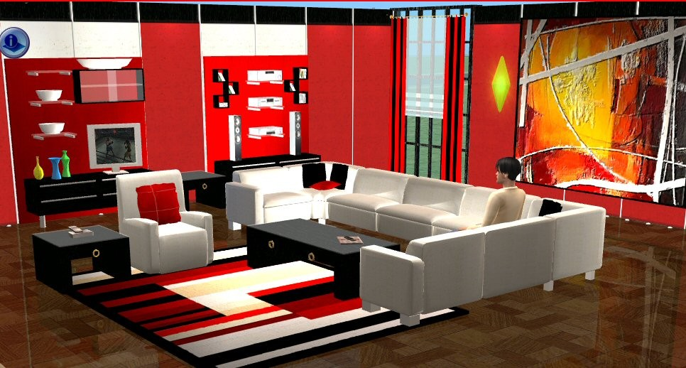 Mod the sims livingroom krystina sectional sofa recol for Sectional sofa sims 3