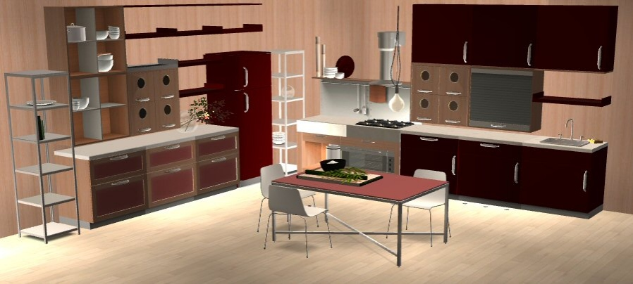 Mod the sims modern kitchen wine and darkblue for Mobilia kitchen