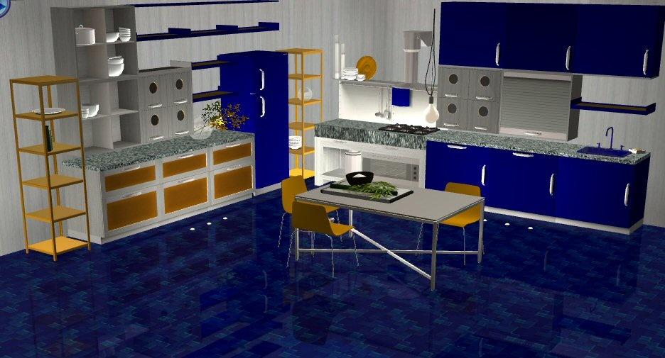 mod the sims modern kitchen wine and darkblue