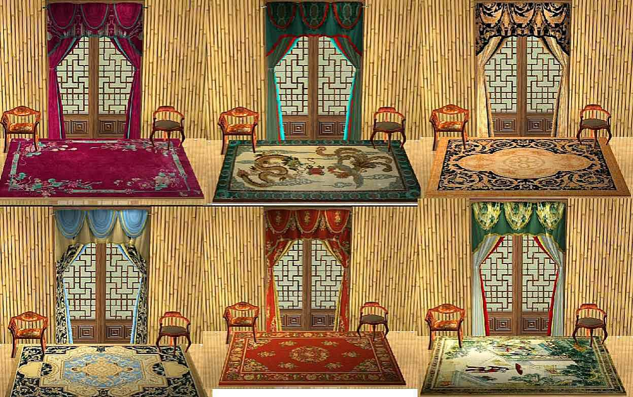 Mod The Sims Chinese Rugs With Matching Curtains