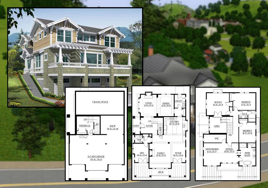 Mod The Sims - 3 Bedroom Craftsman Cliffside Home