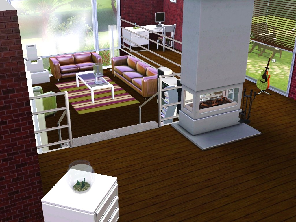 Mod the sims pistachio a modern estate with a sunken living room for Sunken living room wikipedia