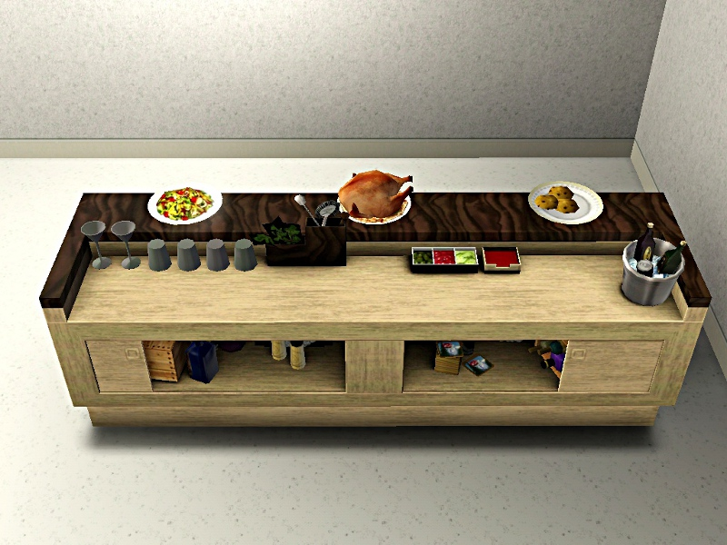 mod the sims less formal buffet tables new meshes. Black Bedroom Furniture Sets. Home Design Ideas