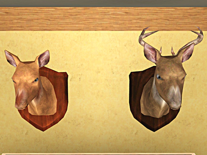 Mod The Sims - Hunter Collection: Deer Heads Doe and Buck: Pets ...
