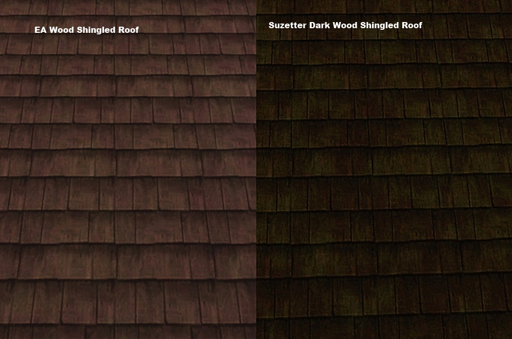 Mod The Sims Dark Wood Shingled Roof By Suzetter
