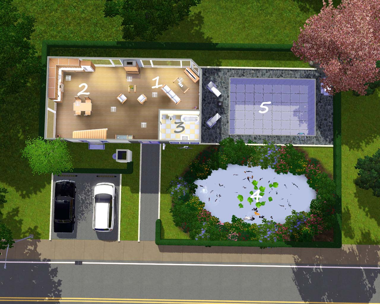 Mod the sims the modern lake house base game no cc for Modern home stuff