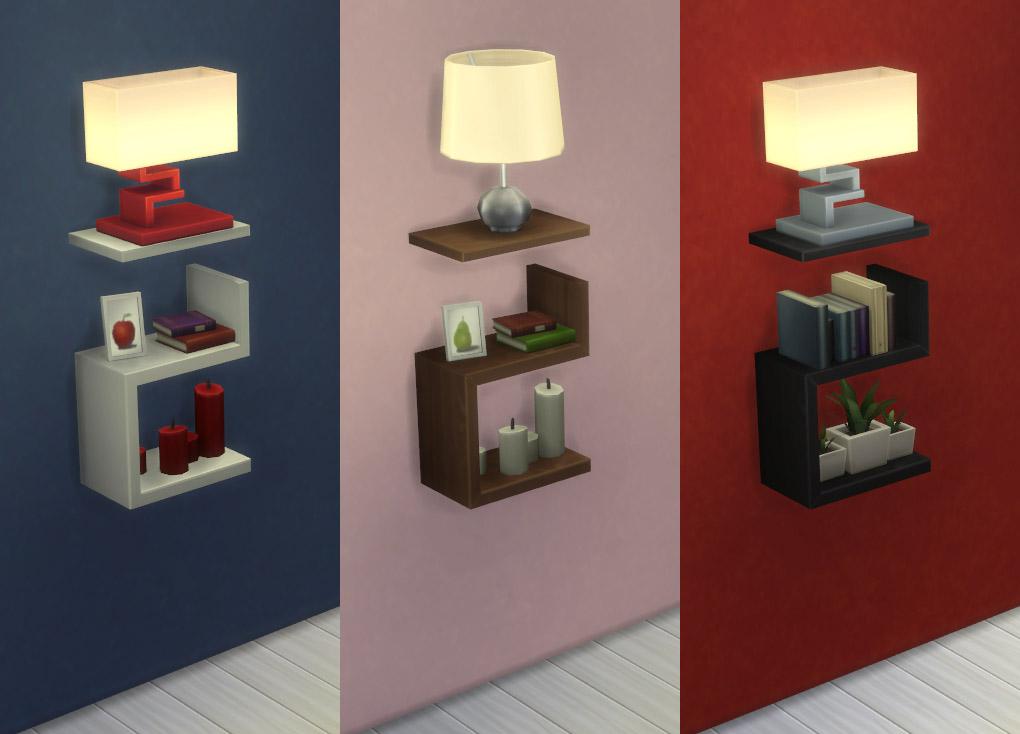 Mod The Sims Intellectual Illusion Wall Shelf