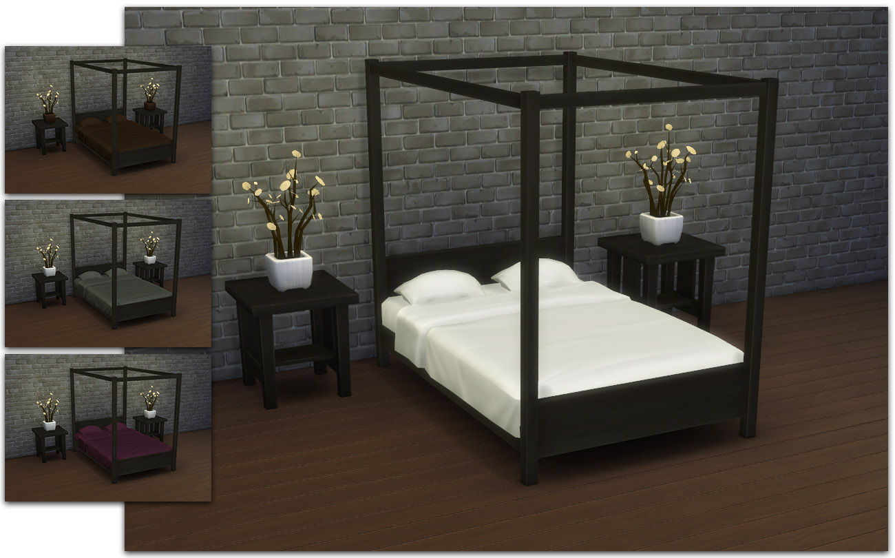 Black Canopy Beds Mod The Sims Modern Four Poster Double Bed