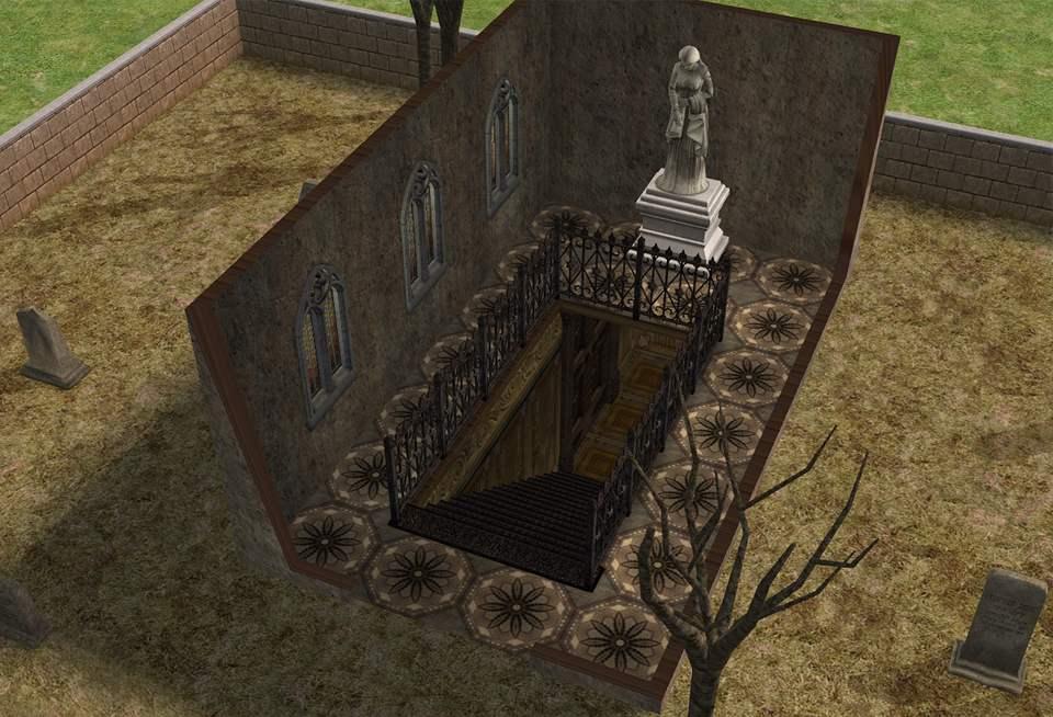 mod the sims   creepy graveyard above secret underground
