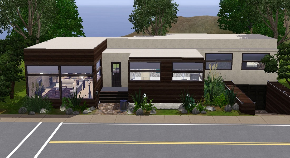 Mod the sims the hillside house for Modern house design on hillside