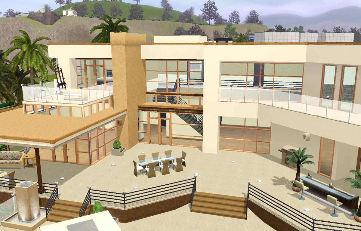 Mod the sims modern 39 wow 39 pool villa for Sims 3 salon moderne