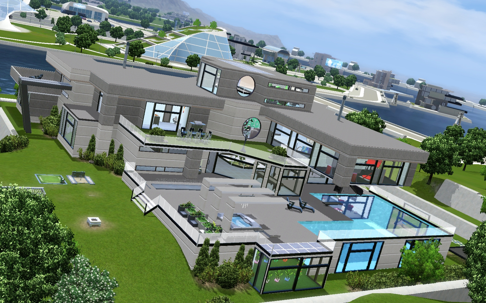 mod the sims entertainment futuristic mansion