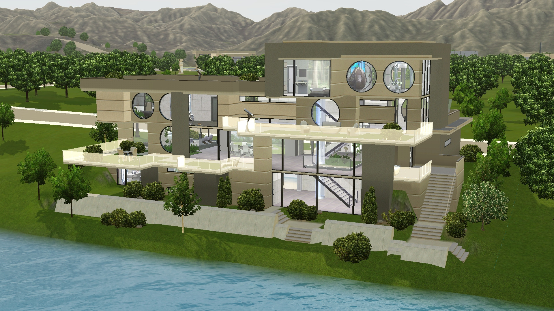 mod the sims - long waterside futuristic house