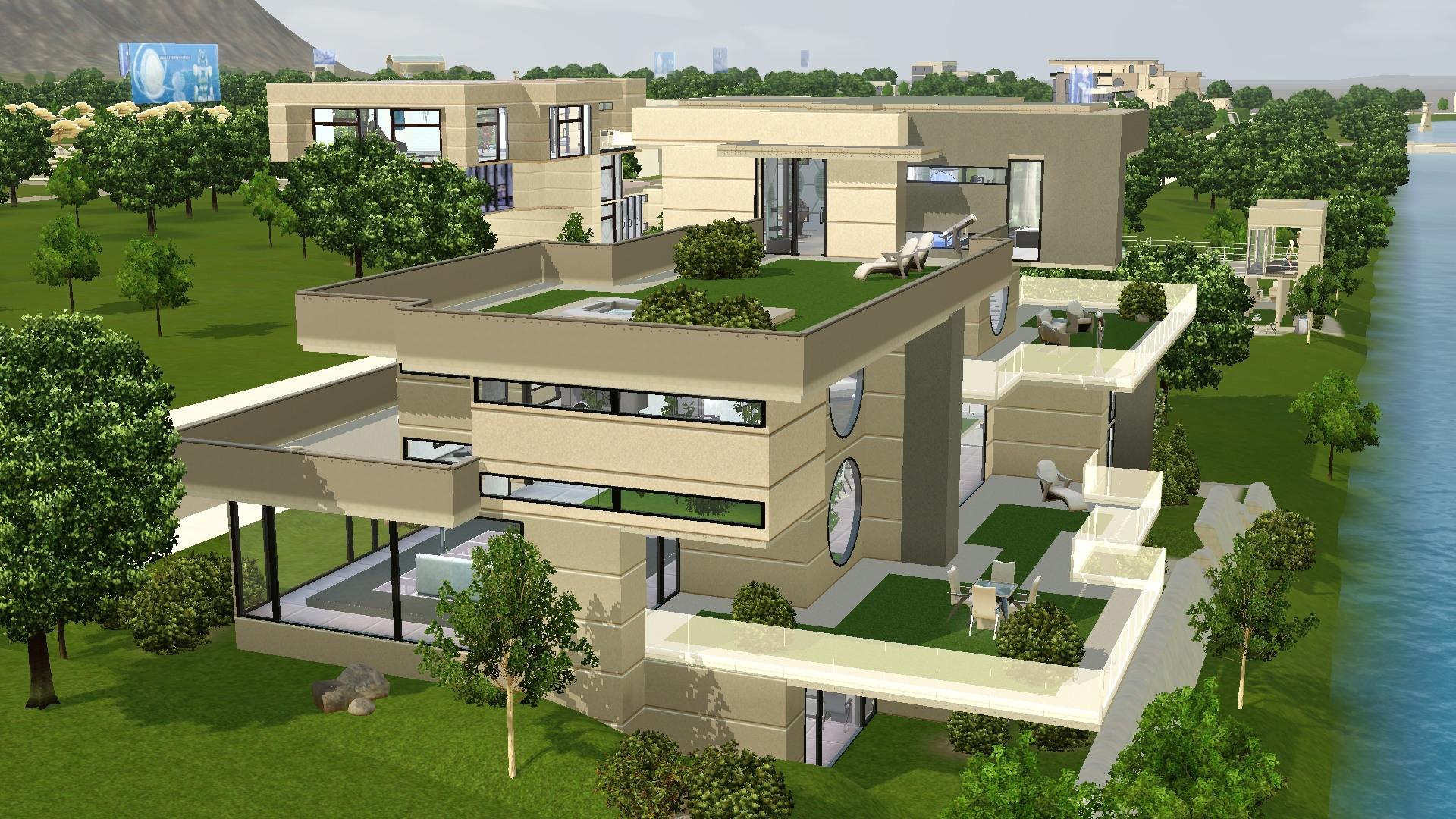 Futuristic House Mod The Sims  Long Waterside Futuristic House