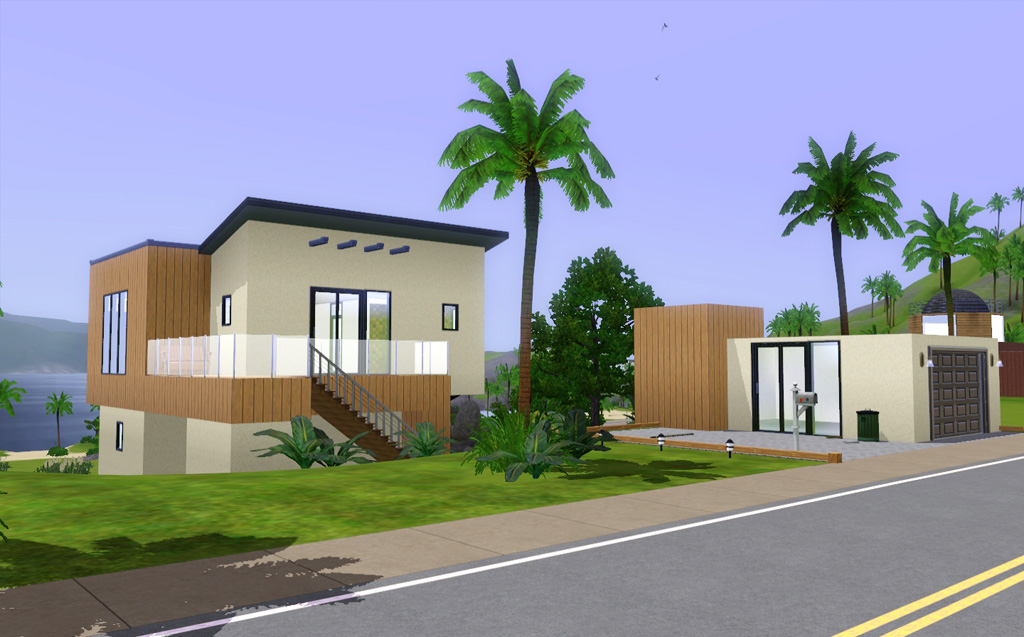 Modern beach house sims 3 images for 90s modern house