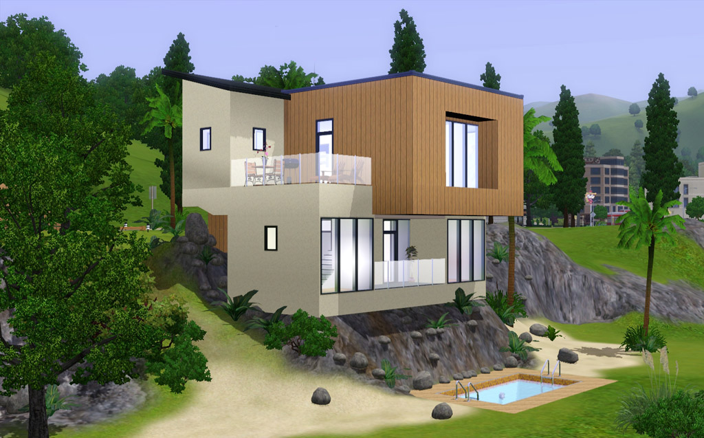 Mod the sims modern beach house for Beach house plans sims 3