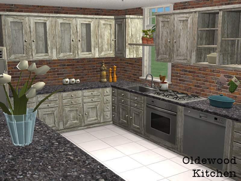 Mod the sims oldewood kitchen a recolor for the for Sims 2 kitchen ideas