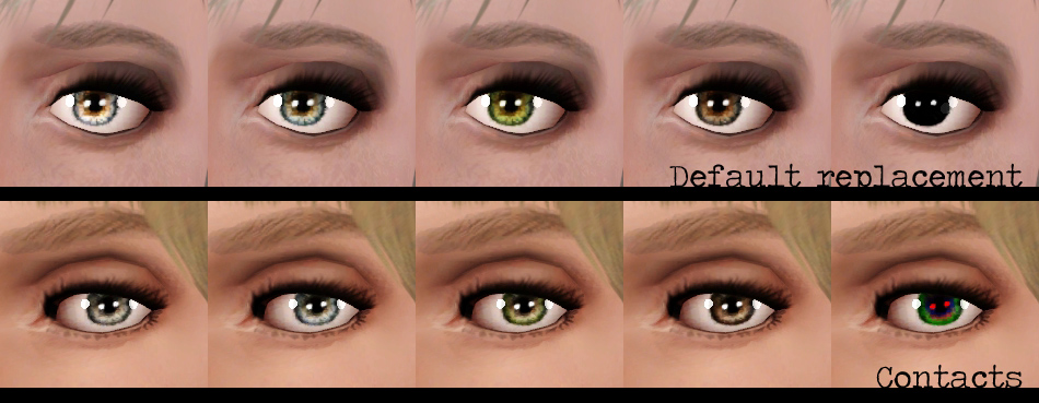 Mod The Sims - Pixie - Contacts and DEFAULT replacement eyes