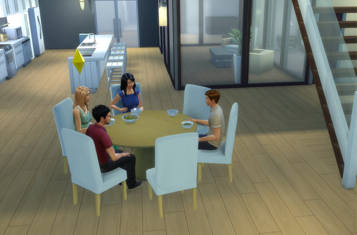 mod the sims - modern 6-seater and 8-seater round dining table and