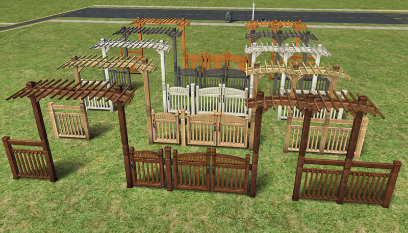 "Mod The Sims Fence Arches and Fences Maxis matching ""Pinegultcher"