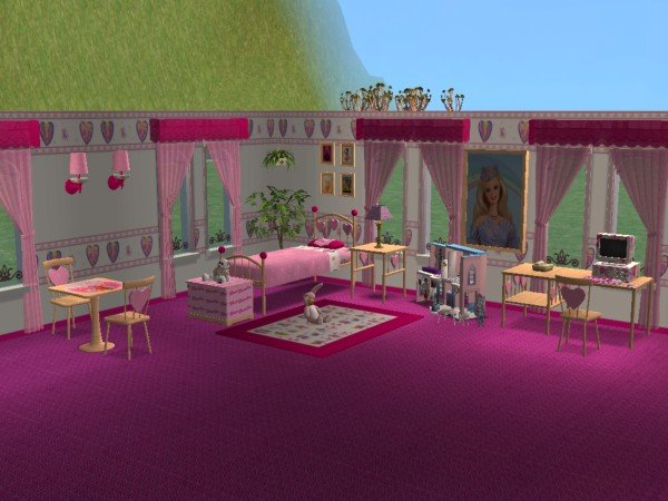 Mod The Sims - Barbie Bedroom set (Miss Wendy Heart bedroom recolor)
